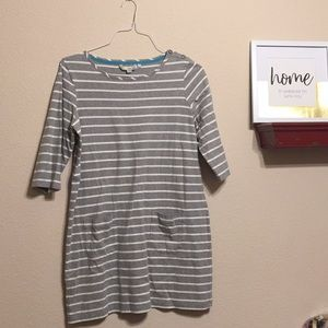 Boden 3/4 Sleeve Striped Pocket Dress w/ Buttons